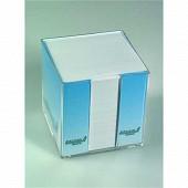 BOITIER PLASTIQUE BLOC CUBE BLANC 9X9X9 1000 FEUILLES PAPIER 70 GR/M2