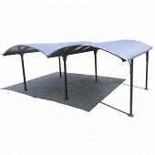 Double carport alu toit 1/2 rond gris anthracite / surface exterieur 28.62 m  réf CAR 6048 ALRP