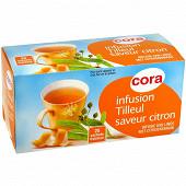 Cora infusion tilleul saveur citron 25 sachets 40g