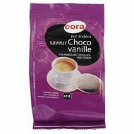 Cora café 10 dosettes pur arabica saveur choco-vanille 70 g