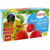 Cora gourdes purée pomme fraise et pomme framboise sans sucres ajoutés 6X90g