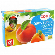 Cora gourdes purée de pomme abricot pêche sans sucres ajoutés 6 x 90g