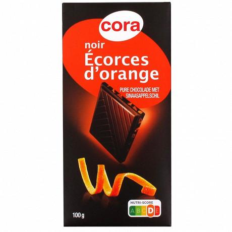 Cora chocolat noir aux écorces d'oranges confites 100g