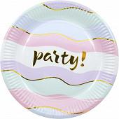 8 assiettes party metallic d 23cm