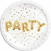 8 assiettes gold party metallic d 23cm