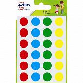 Avery 144 gommettes  assorties diamètre 15 mm