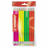 Stabilo 12 crayons graphit hb corps fluo bout gomme