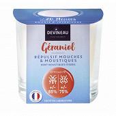 Devineau bougie verre transparent géraniol anti moustique anti mouche