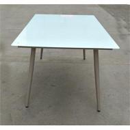 Table en acier effet bois avec plateau en verre trempé 150x90x74 cm
