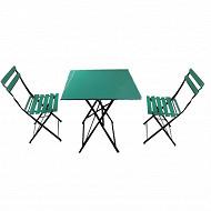 Ensemble table en acier + 2 chaises pliantes coloris vert