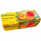 Nature Bio pot pomme pêche 4/6 mois 12gr x2