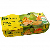 Nature bio pot banane poire mangue dès 8 mois 120g x2