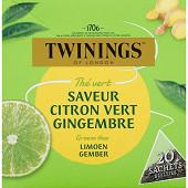 Twinings thé vert saveur citron vert gingembre x20 32g