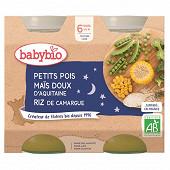 Babybio bonne nuit petits pois maïs riz sans gluten dès 6 mois 2x200g