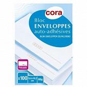 Cora bloc 100 enveloppes précasées auto-adhésives 114x162 mm 80 g
