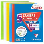 Kover book lot de 5 cahiers piqure 24x32 translucide