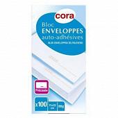 Cora bloc de 100 enveloppes précasées auto-adhésives 110x220 mm