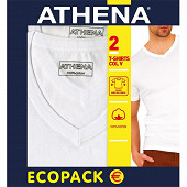 Lot de 2 Tee-shirt manches courtes col V Duo Choc Athena 300 BLANC/BLANC T4