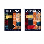 Lot de 3 boxers +1 offert Athéna 2111 MAR/ROUG/GRIS/M T4