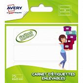Avery- 75 étiquettes enlevables en carnet-80x23mm