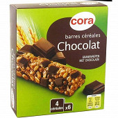 Cora barres céréales chocolat noir 6x21g soit 126g
