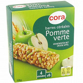 Cora barres céréales pomme verte 6 x 21g soit 126g