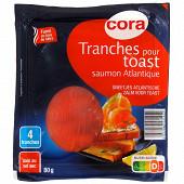 Cora tranches pour toast saumon atlantique fumé 80g