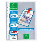 Exacompta 50 pochettes perforées 210x297 polypro lisse incolore
