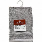 Lot de 2 serviettes invités 30x50 uni 450g gris clair