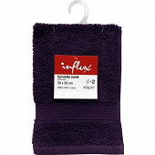 Lot de 2 serviettes invités 30x50 uni 450g prune