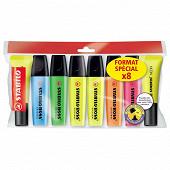 """6 surligneurs STABILO BOSS ORIGINAL + 2 surligneurs STABILO Neon jaune """"Format spécial x 8"""""""