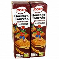 Cora gouters fourrés carrés chocolat lot 2 x300g
