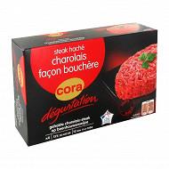 Cora Dégustation steak haché charolais façon bouchère 15% mg 4x125g