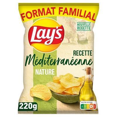Lay's Lays chips méditerranéenne 100% huile d'olive nature format familial 220g