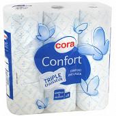 Cora papier toilette confort blanc/bleu triple épaisseur x  9 rouleaux