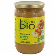Nature bio compotesde pommes bocal verre 650 g
