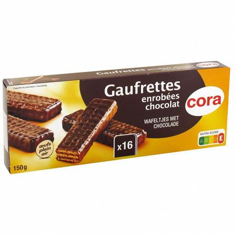 Cora gaufrettes enrobées chocolat 150g