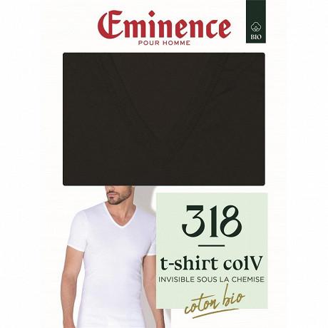 Tee shirt manches courtes col V coton bio Eminence 007 NOIR T6