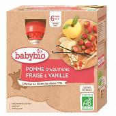 Babybio mes fruits gourde pomme fraise vanille sans gluten dès 6 mois 4x90g