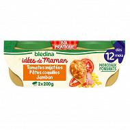 Blédina les idées de maman x 2 bols 200 g tomates pates coquille jambon dès 12 mois