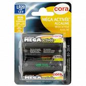Cora 2 piles alcalines D (LR20) mega-activées