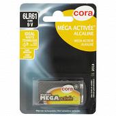 Cora pile alcaline 9 volts (6LR61) mega-activée
