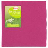 Cora serviettes x40 toucher textile framboise 38x38cm 2 plis