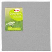 Cora serviettes X40 toucher textile gris 38x38cm2 plis