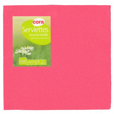 Cora serviettes x40 fuchsia toucher textile 38x38cm 2 plis
