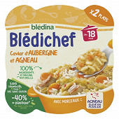 Bledina bledichef caviar d'aubergine et agneau dès 18 mois 2x250g