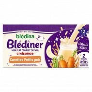 Blédina blediner croissance 2 x 250ml carottes petits pois dès 12 mois
