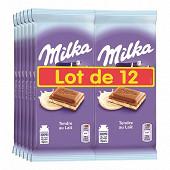 Milka tendre au lait 100g lot de 12 soit 1.2kg