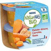 Nestlé naturnes bio patate douce carotte veau dès 8 mois 2x190g