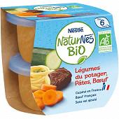Nestlé Naturnes Bio Légumes du potager, pâtes, b?uf dès 6 mois 2x190g